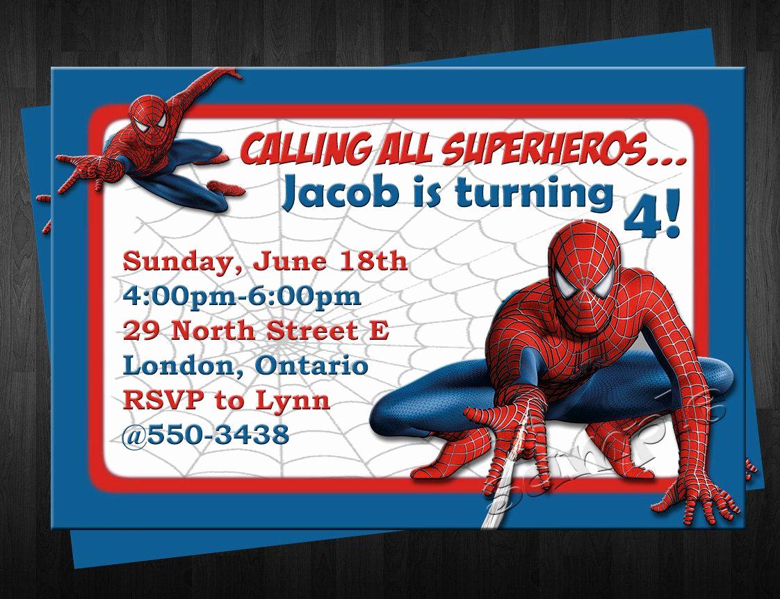 Spiderman Birthday Invitation Maker Lovely Spiderman Birthday Invitation Custom by