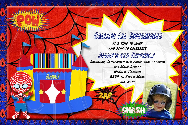 Spiderman Birthday Invitation Maker Unique Spiderman Inspired Invitation Superhero Bounce House Digital