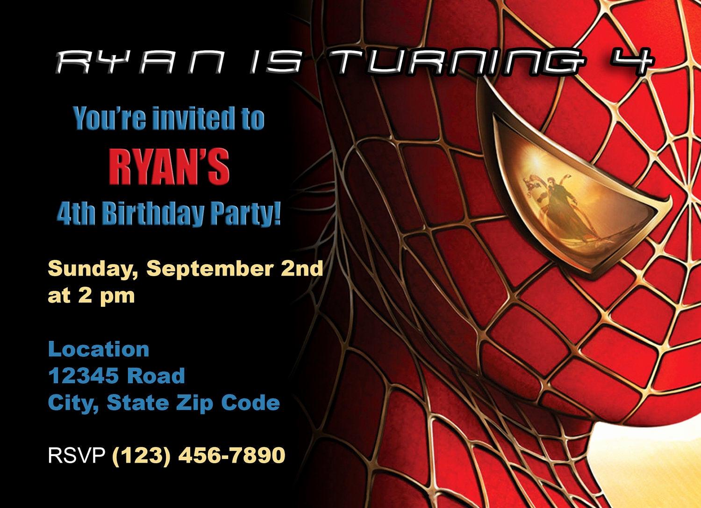 Spiderman Birthday Invitation Template Fresh Items Similar to Spiderman Birthday Invitation On Etsy