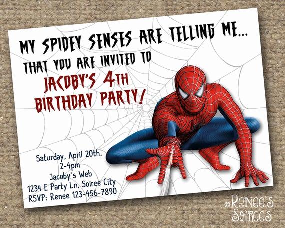 Spiderman Birthday Invitation Template Inspirational Spider Hero Birthday Invitation Printable Invite