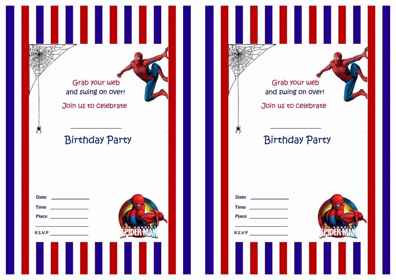 Spiderman Birthday Invitation Template Inspirational Spiderman Birthday Invitations