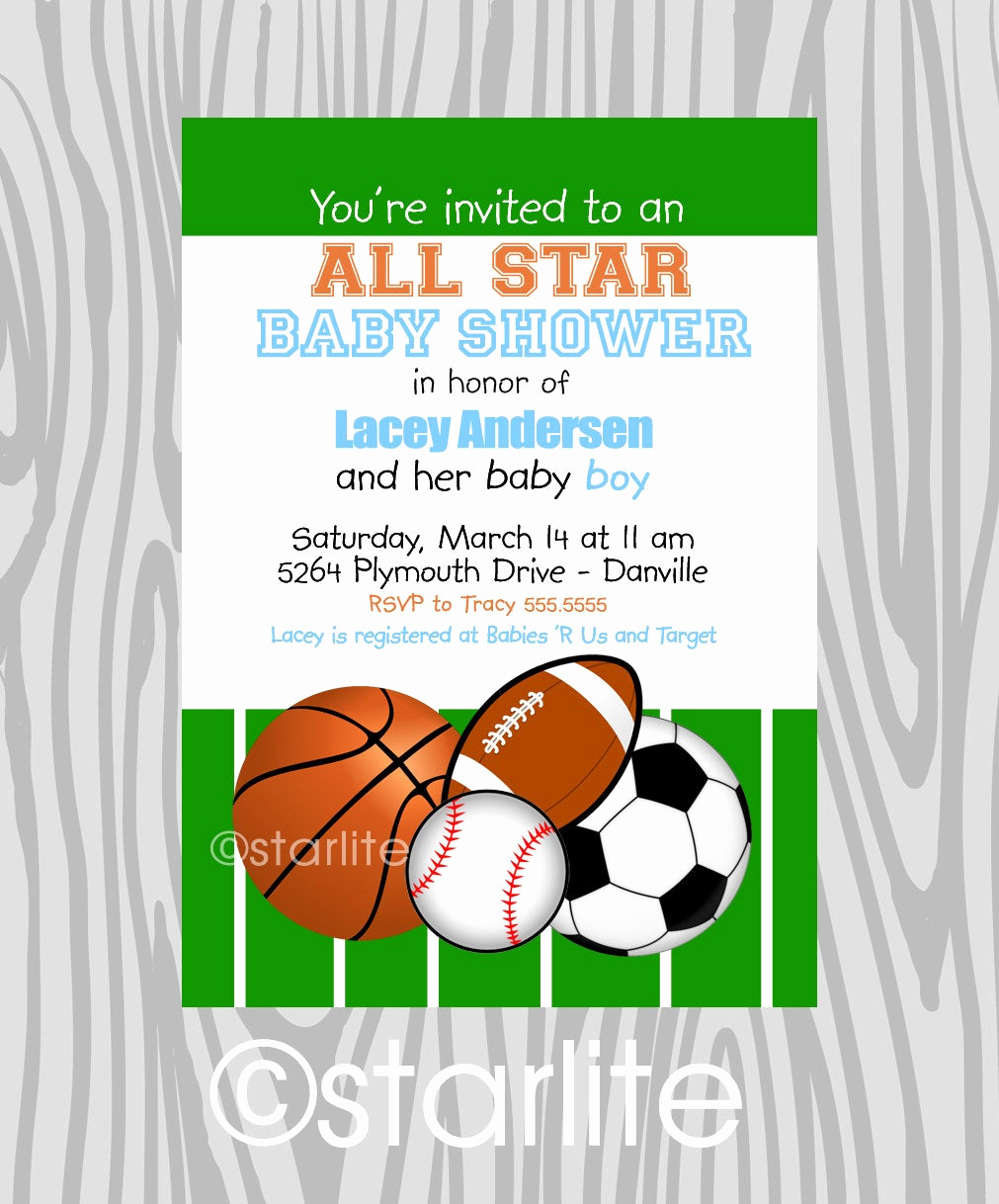 Sports Baby Shower Invitation Templates Awesome Baby Boy All Star Baby Shower Invitation Baby Boy by Starwedd