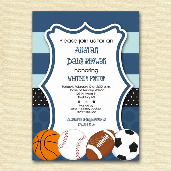 Sports Baby Shower Invitation Templates Awesome Mod Allstar Sports theme Baby Shower Invitation All Star