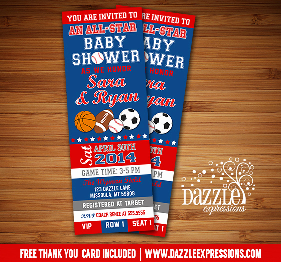 Sports Baby Shower Invitation Templates Awesome Printable All Star Sports Ticket Baby Shower Invitation