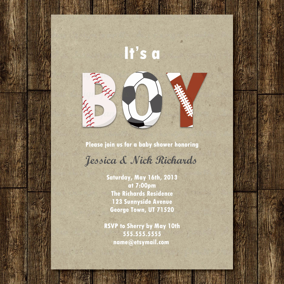 Sports Baby Shower Invitation Templates Awesome Sports Boy Baby Shower Invitation Digital Printable or