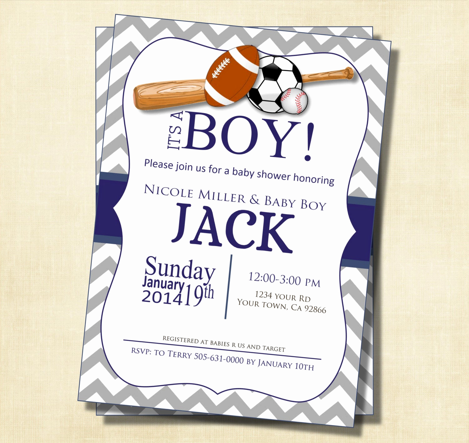 Sports Baby Shower Invitation Templates Beautiful Gray and Blue Chevron Sports theme Baby Shower Invitation