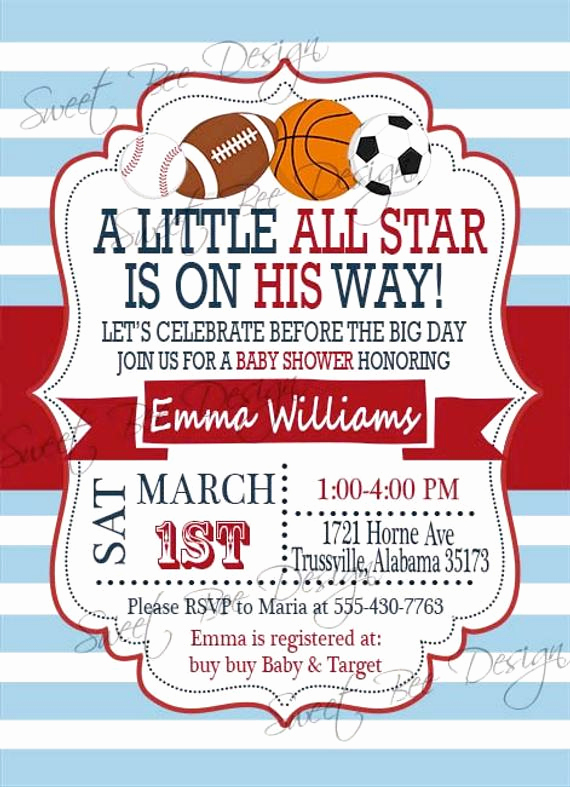 Sports Baby Shower Invitation Templates Best Of Baby Shower Invitation All Star Baby Shower Invitation