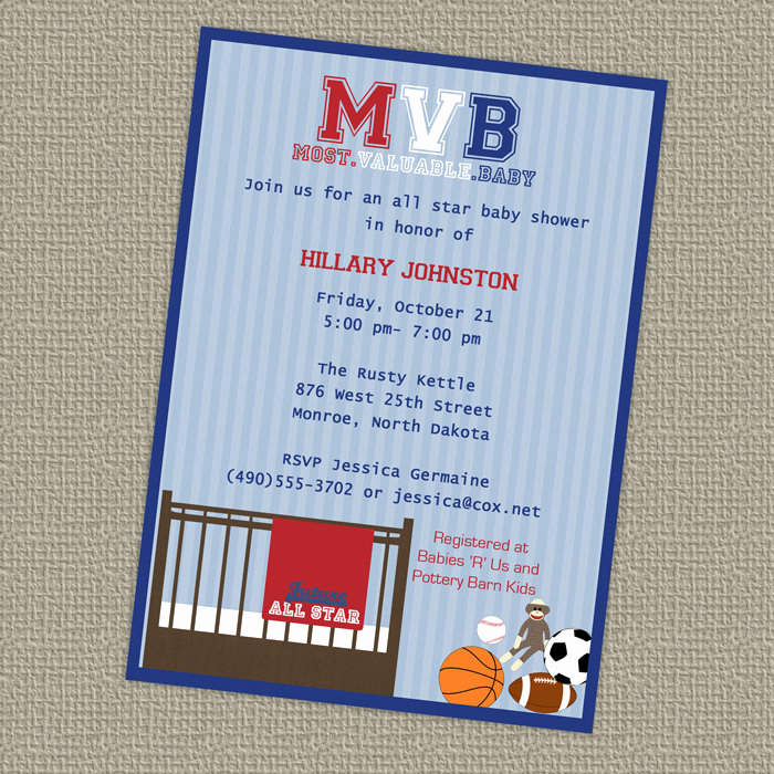 Sports Baby Shower Invitation Templates Best Of Sports Baby Shower All Star Invite Sports themed Mvb