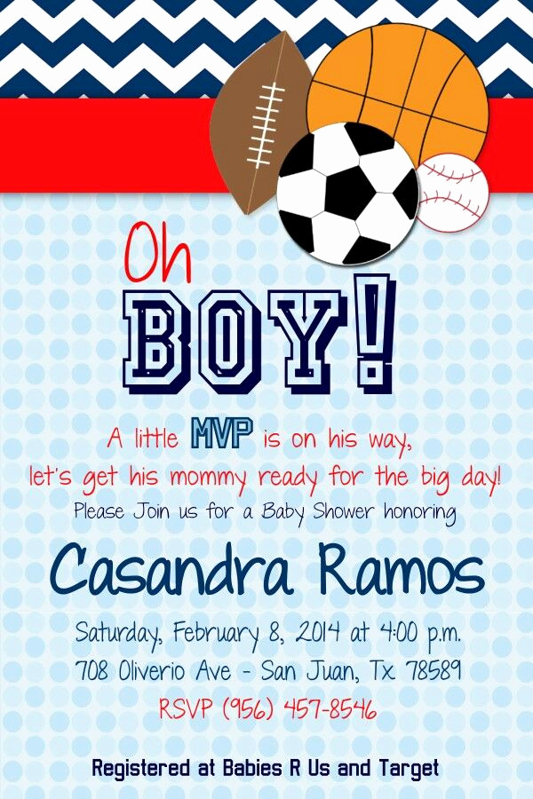 Sports Baby Shower Invitation Templates Elegant Best 25 Baby Shower Sports Ideas On Pinterest