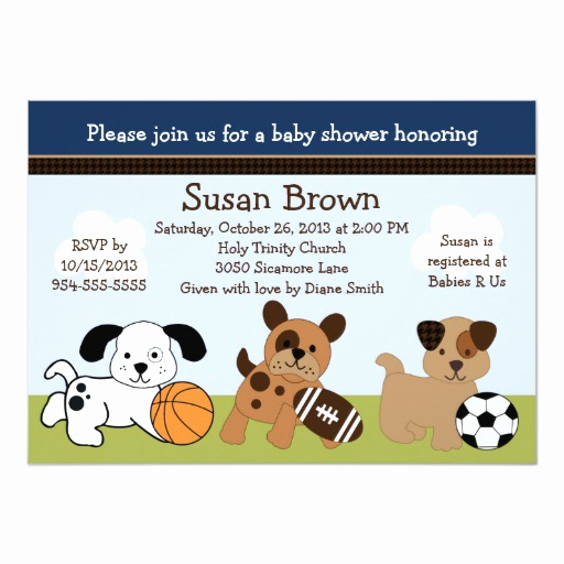 Sports Baby Shower Invitation Templates Elegant Bow Wow Puppy Dogs & Sports Baby Shower Invitation