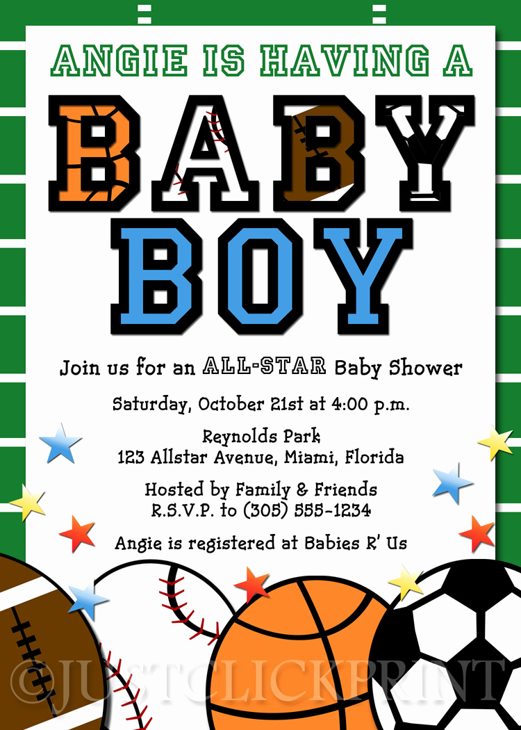Sports Baby Shower Invitation Templates Fresh All Star Sports Baby Boy Shower Invitation Printable