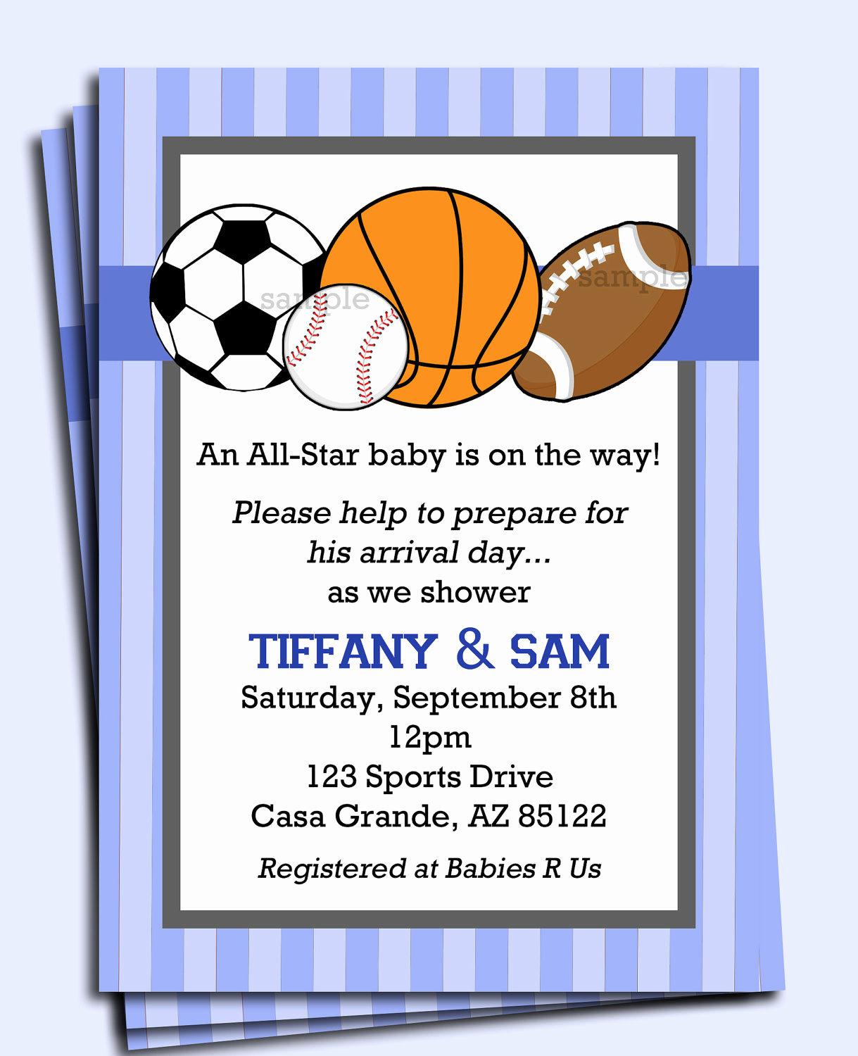 Sports Baby Shower Invitation Templates Fresh All Star Sports Invitation Printable or Printed with Free