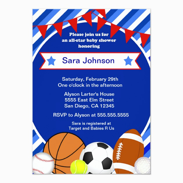 Sports Baby Shower Invitation Templates Inspirational Custom Sports Baby Shower Invites Templates