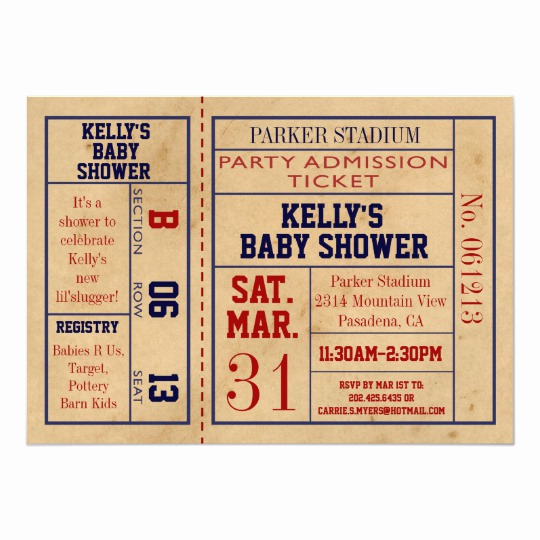 Sports Baby Shower Invitation Templates Lovely Vintage Sports Ticket Baby Shower Invite Basebal