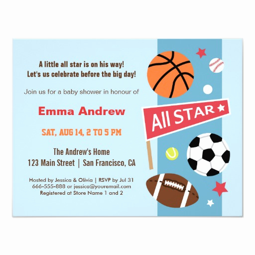 Sports Baby Shower Invitation Templates Luxury Colourful Sports themed Baby Shower Invitations