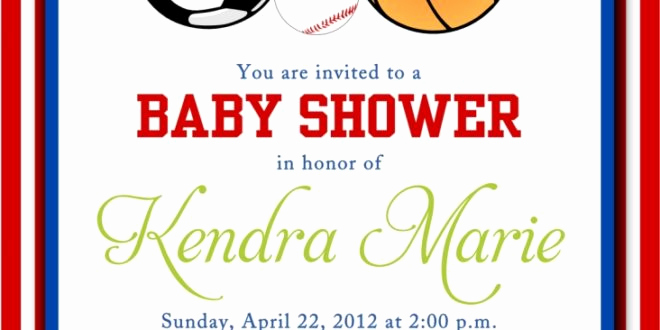 Sports Baby Shower Invitation Templates Unique Sports themed Baby Shower Invitations Templates