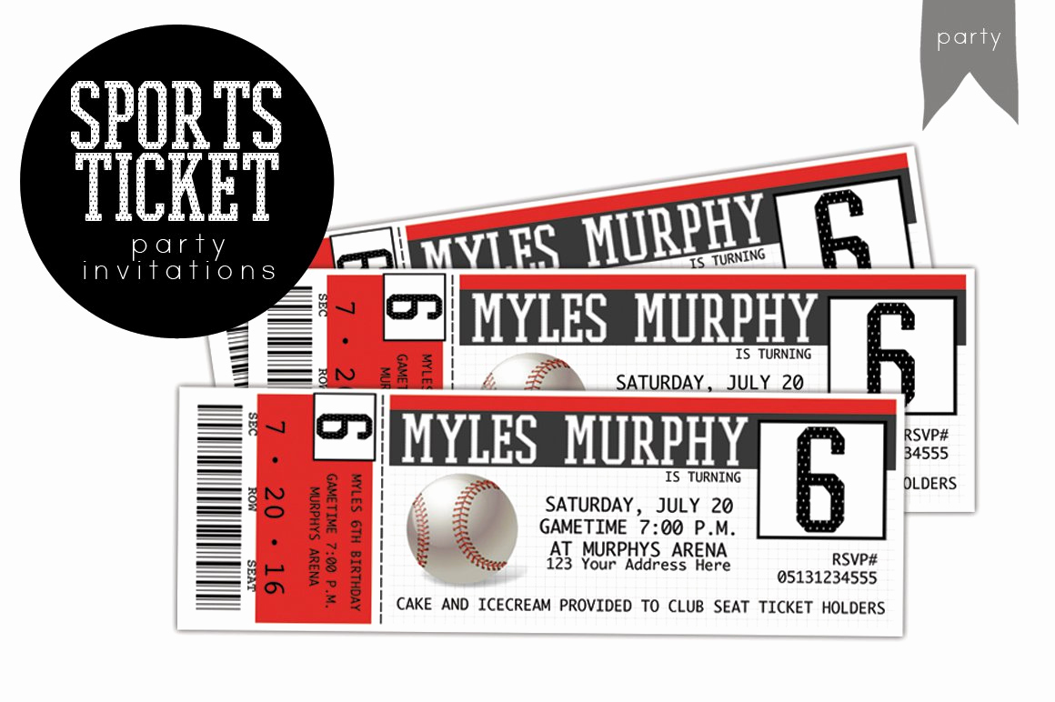 Sports Ticket Invitation Template Free Awesome Birthday