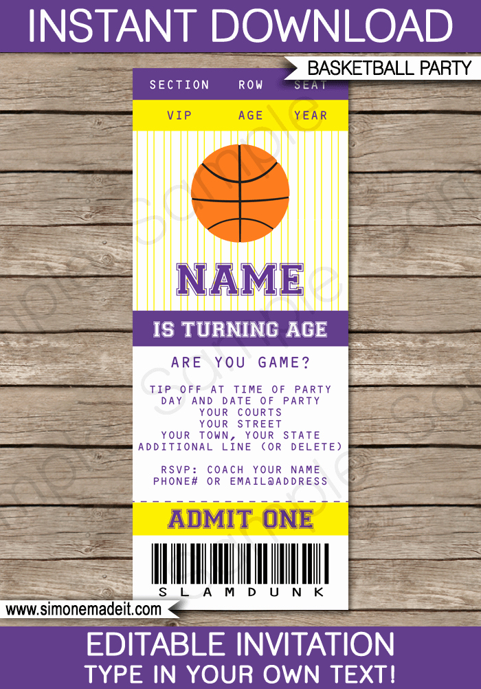 Sports Ticket Invitation Template Free Best Of Yellow and Purple Basketball Party Ticket Invitation Template