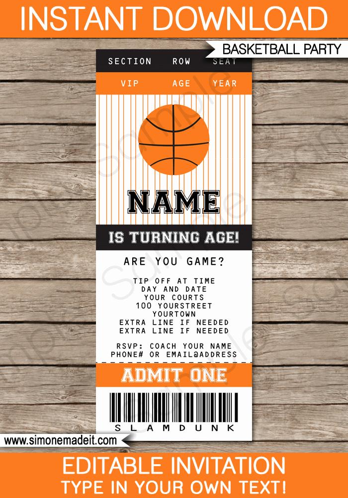 Sports Ticket Invitation Template Free Elegant Basketball Ticket Invitation Template