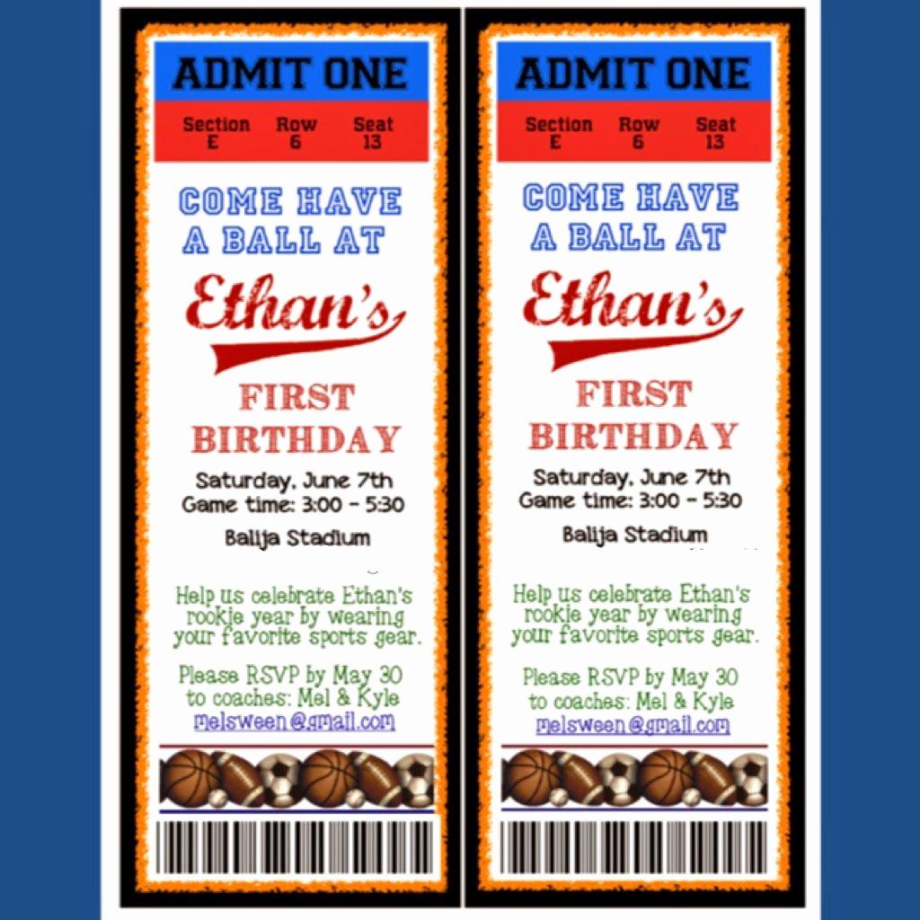 Sports Ticket Invitation Template Free Elegant Customized Game Ticket Invitation for A Sports theme