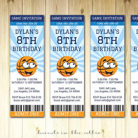 Sports Ticket Invitation Template Free Fresh Basketball Birthday Invitation Ticket Sports Party Invite