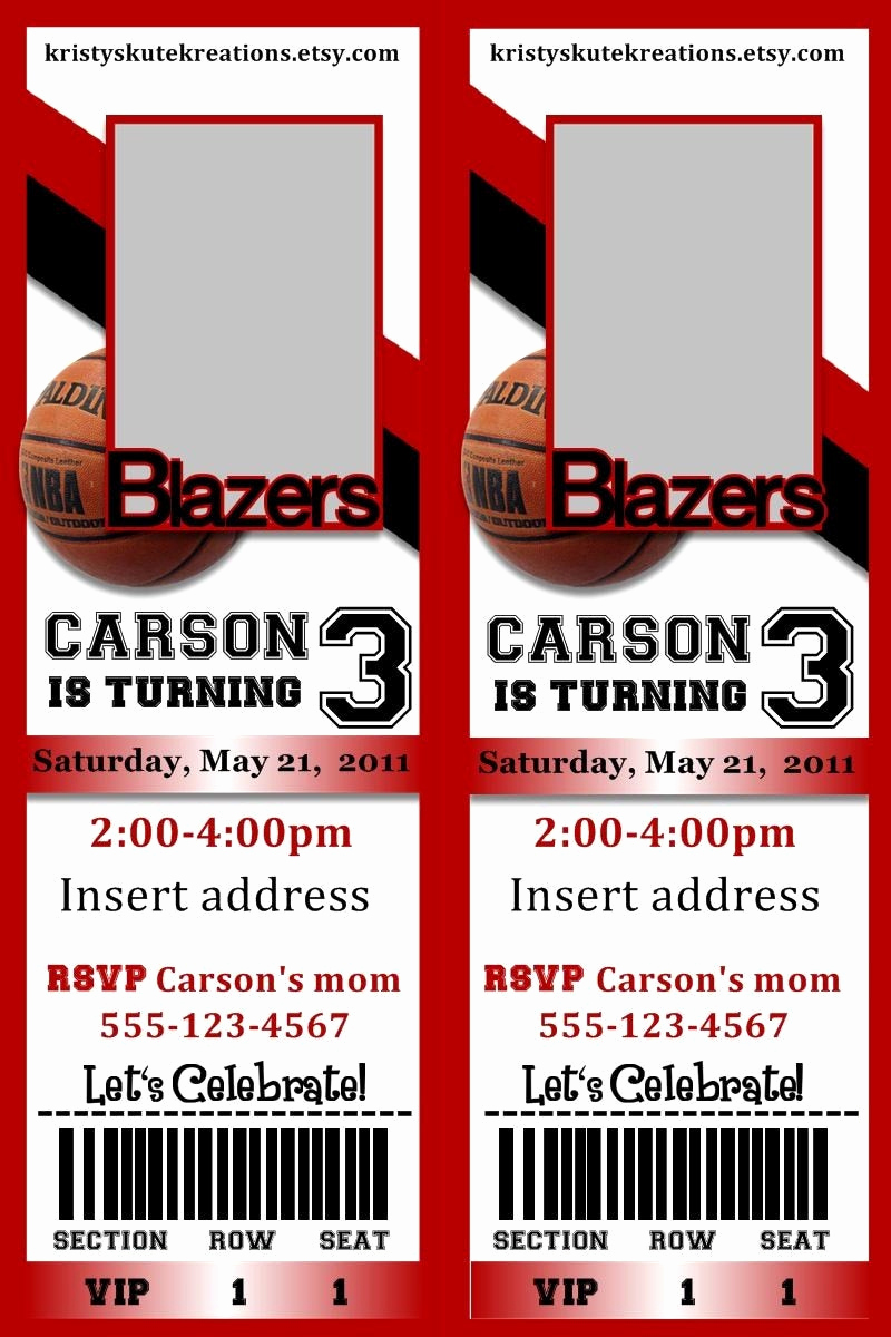 Sports Ticket Invitation Template Free Lovely Sports Basketball Ticket Birthday Invitation Digital