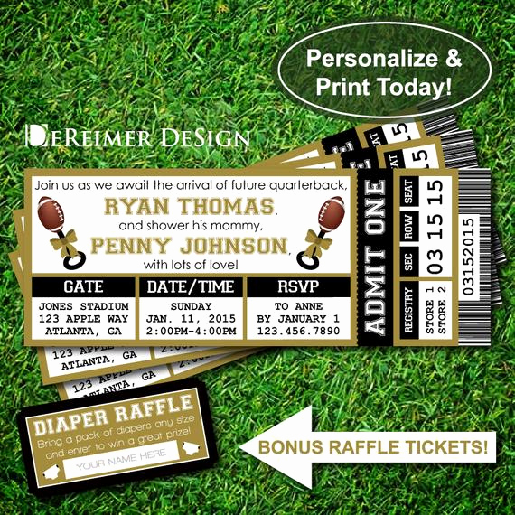 Sports Ticket Invitation Template Free Lovely Sports Ticket Baby Boy Shower Invitation All Star Baby