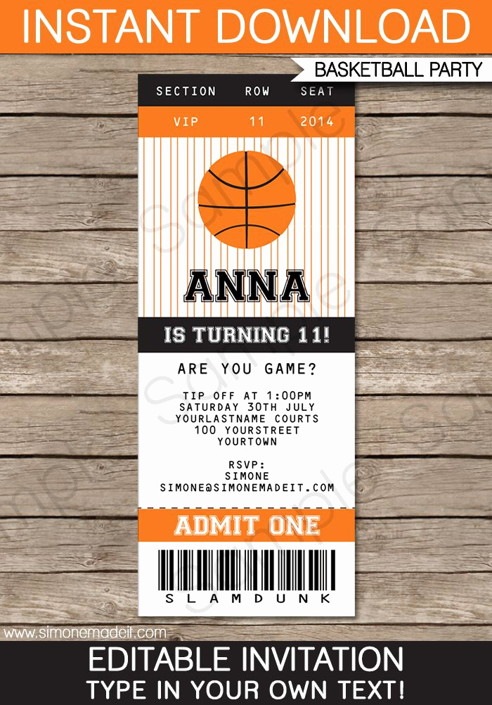 Sports Ticket Invitation Template Free Luxury Best 25 Basketball Birthday Parties Ideas On Pinterest