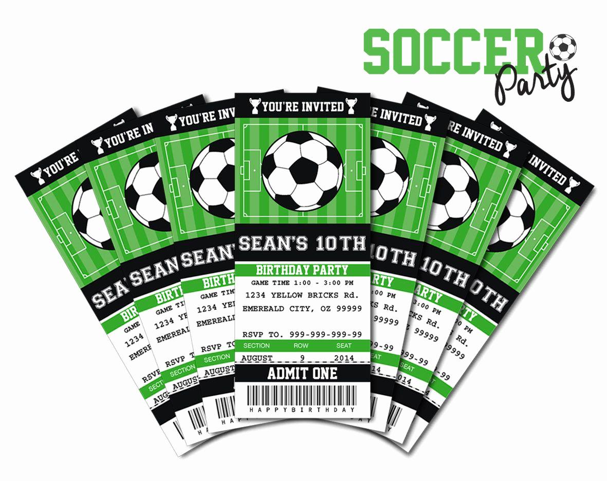 Sports Ticket Invitation Template Free Luxury soccer Invitation soccer Birthday soccer Party Ticket