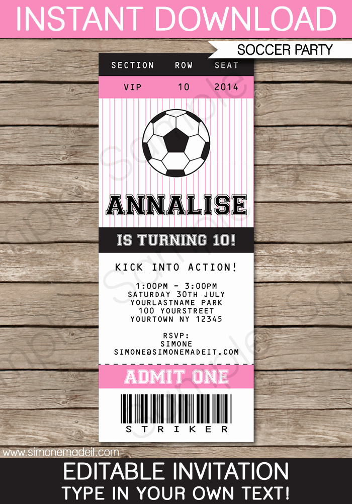 printable soccer ticket invitations
