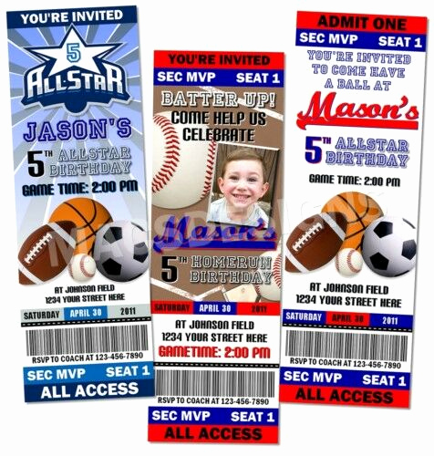 Sports Ticket Invitation Template Free New All Star Sports Birthday Party Ticket Invitations Favor