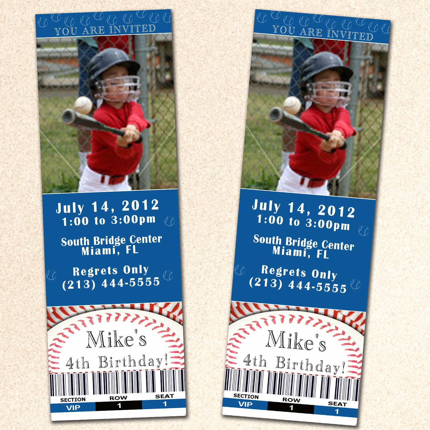 Sports Ticket Invitation Template Free Unique Baseball Birthday Invitation Ticket Boy Blue Sport by
