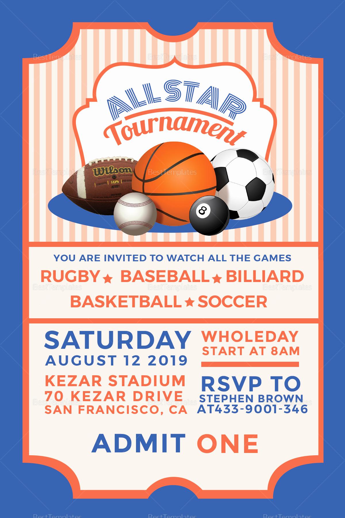 Sports Ticket Invitation Template Free Unique Sports Ticket Invitation Design Template In Psd Word