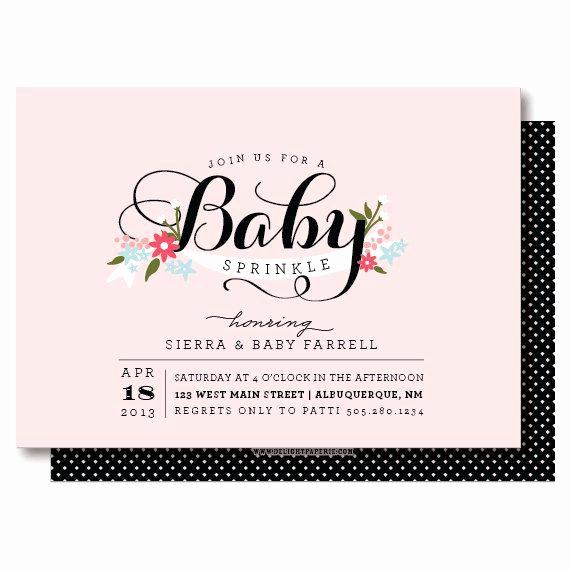 Sprinkle Baby Shower Invitation Wording Elegant Baby Girl Sprinkle Invitations Elegant Pink and Black Baby