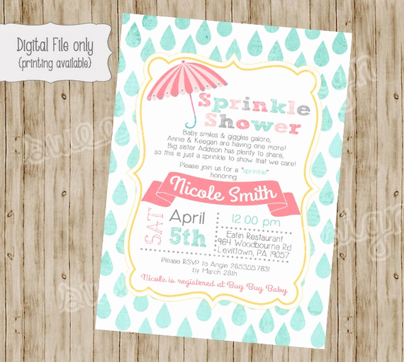 Sprinkle Baby Shower Invitation Wording Elegant Baby Shower Invitation Baby Sprinkle Invitation Sprinkle