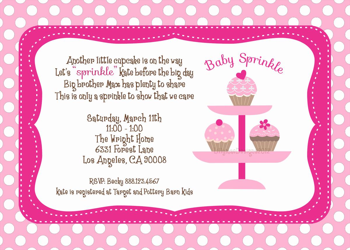 Sprinkle Baby Shower Invitation Wording Elegant Baby Sprinkle Shower Invitation Digital File