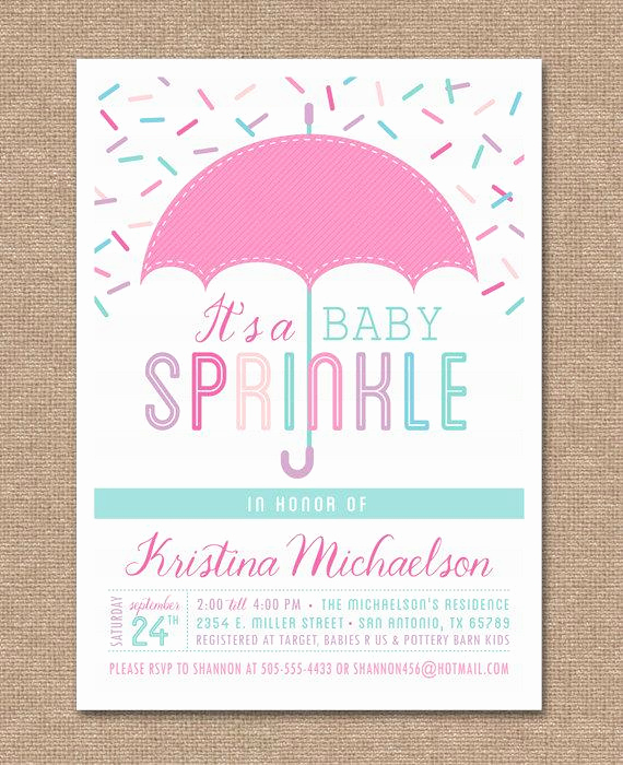 Sprinkle Baby Shower Invitation Wording Inspirational Printable Baby Sprinkle Invitation Baby Shower Pink Baby