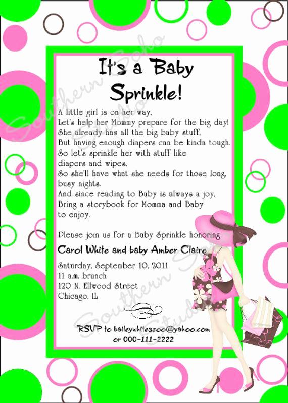 Sprinkle Baby Shower Invitation Wording Lovely Modern Mom Baby Shower Sprinkle Invitation Pink & Green Set
