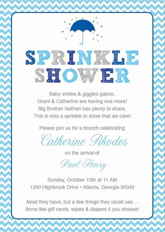 Sprinkle Baby Shower Invitation Wording Luxury Blue Baby Sprinkle Shower Invitation Blue Grey Girl Chevron