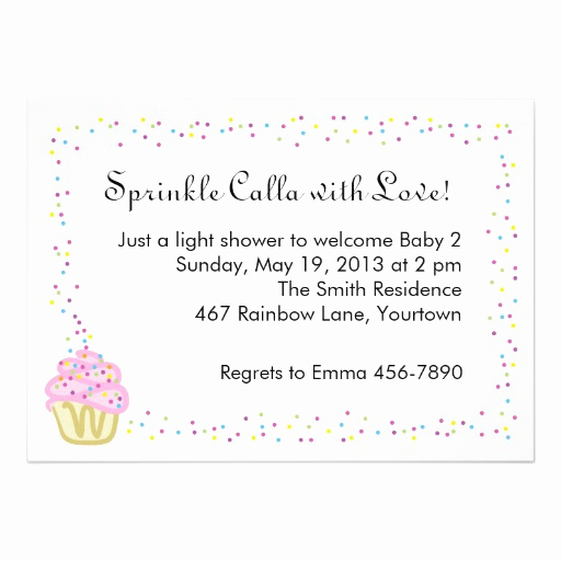 "Sprinkle Shower Invitation Wording Beautiful Baby Sprinkle Shower Invitation with Pink Cupcake 5"" X 7"