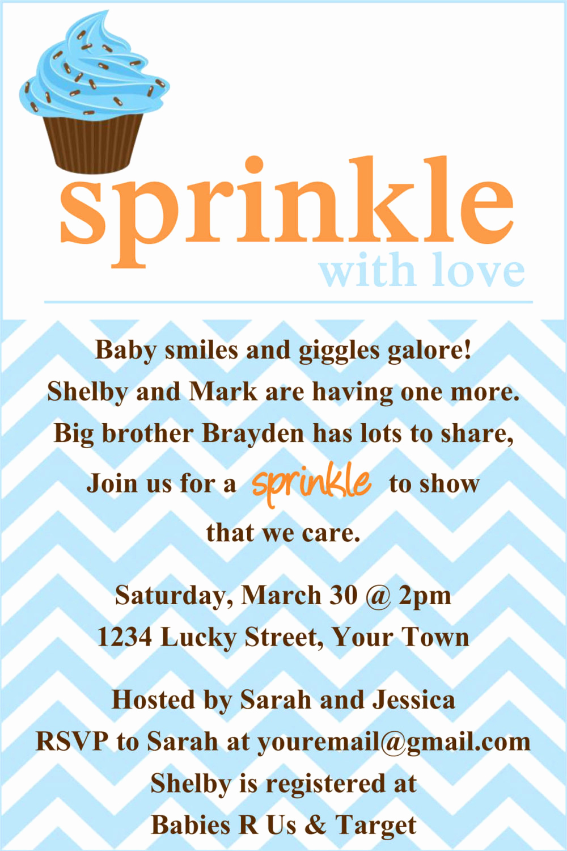 Sprinkle Shower Invitation Wording Beautiful Sprinkle Baby Shower Invitation Template 4x6 by Luckybean33