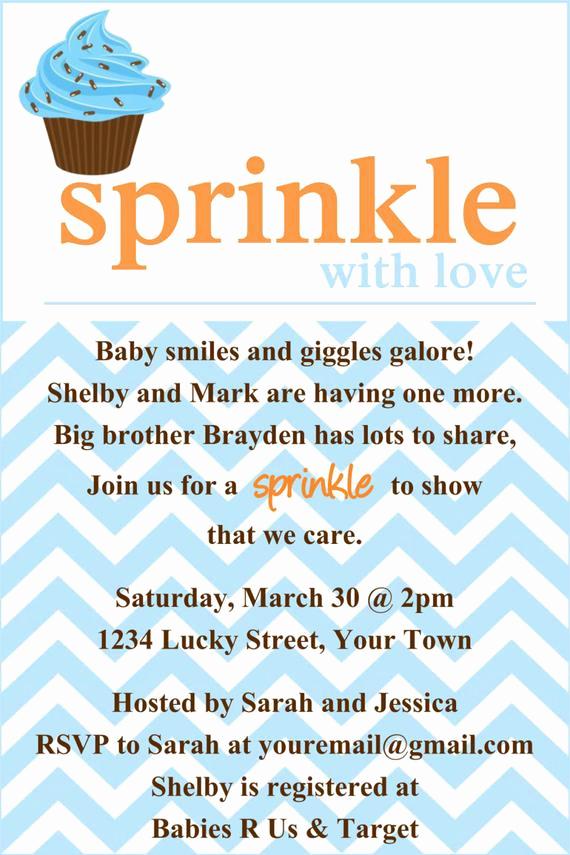 Sprinkle Shower Invitation Wording Best Of Items Similar to Sprinkle Baby Shower Invitation Template