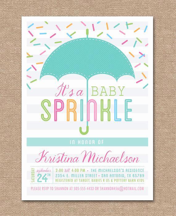 Sprinkle Shower Invitation Wording Elegant Printable Baby Sprinkle Invitation Baby Shower Umbrella