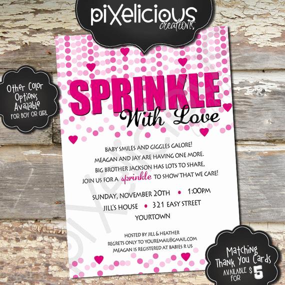 Sprinkle Shower Invitation Wording Elegant Sprinkle Custom Baby Shower Invitation Girl by