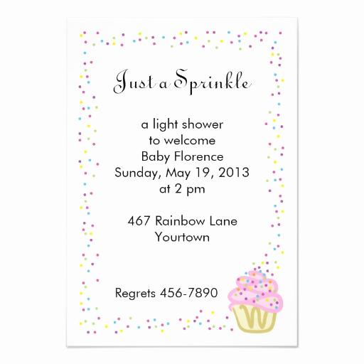 "Sprinkle Shower Invitation Wording Inspirational Baby Sprinkle Shower Invitation with Pink Cupcake 3 5"" X 5"