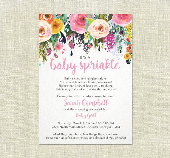 Sprinkle Shower Invitation Wording Inspirational Rose Floral Girl Baby Sprinkle Shower Flower by