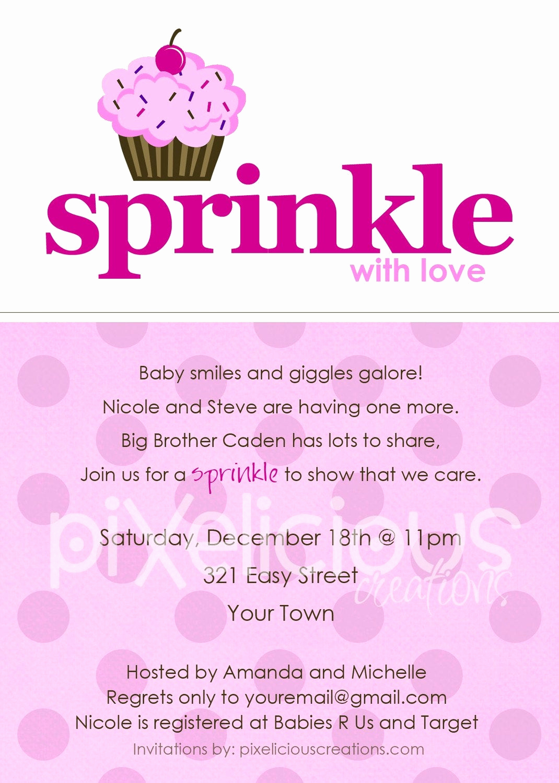 Sprinkle Shower Invitation Wording New Sprinkle Custom Baby Shower Invitation Girl by