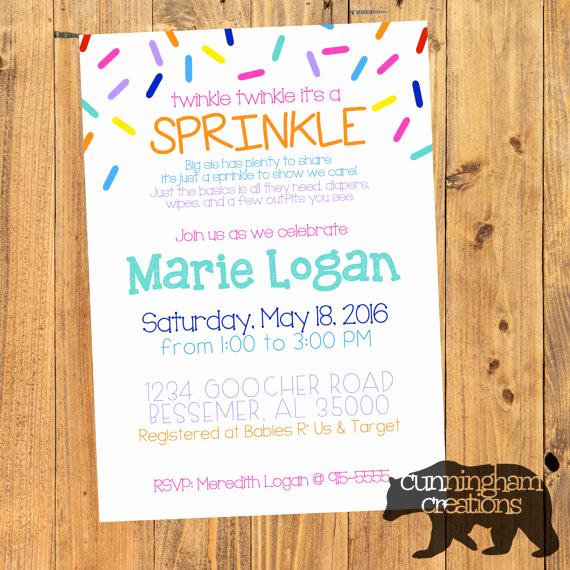 Sprinkle Shower Invitation Wording Unique Sprinkle Shower Invitation
