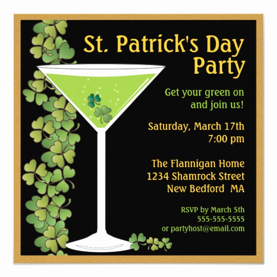 St Patrick Day Invitation Awesome St Patricks Day Shamrock Martini Invitation