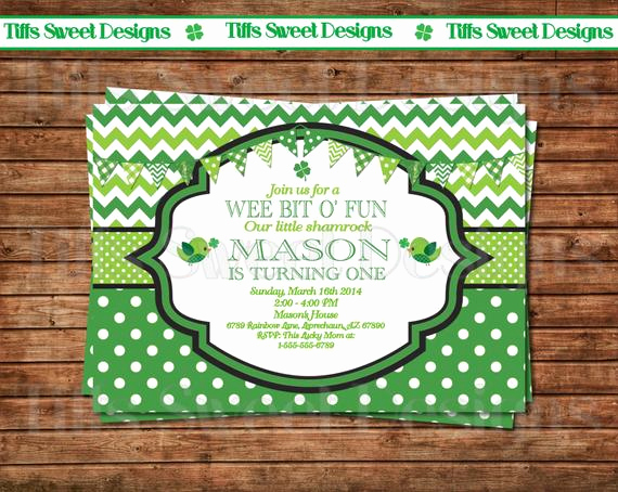 St Patrick Day Invitation Beautiful St Patrick S Day Invitation Birthday by Tiffssweetdesigns